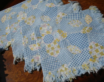 Retro Blue and Yellow Floral Napkins set of four 1970s with fringe