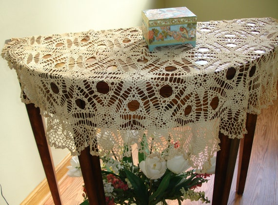 Reserve for Sue Antique Hand Crocheted Table Cover early 1900's
