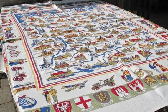 Antique German Souvenir Table cover Table cloth circa early 1900s