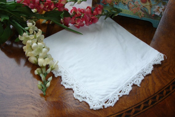 French Linen Wedding  Hankie with Crocheted Lace Edging 1910s