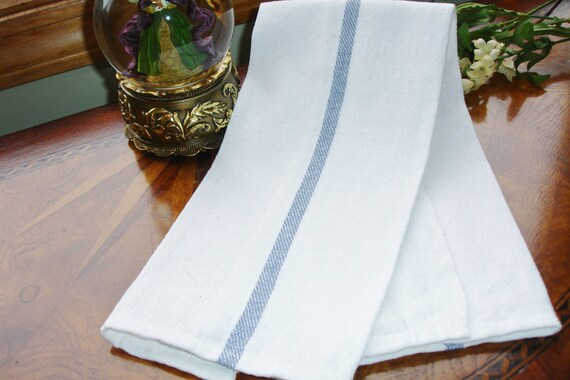 French Country Huck Towel White with Blue Stripe 1950s