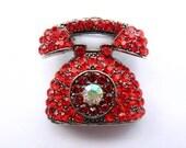 Beautiful Bright Red Rhinestone Telephone Pin