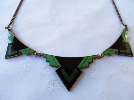 Fabulous Black and Green Enamel Art Deco Necklace with Sterling Chain