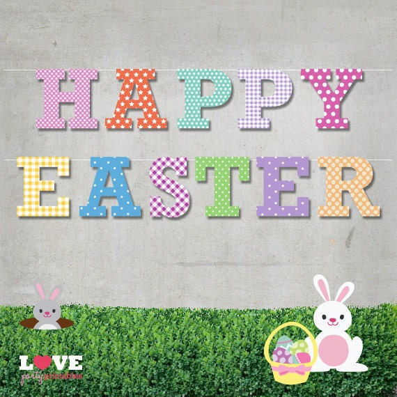 Terrible image regarding happy easter banner printable