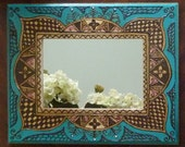 Moroccan Hennaed Mirror (9.5x11.5 inch) - FREE SHIPPING INCLUDED