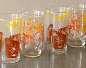 Mid Century Drinking Glasses Tumblers Flowers