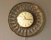 Mid Century Wall Clock Gold Metal Electric Sunbeam Clock