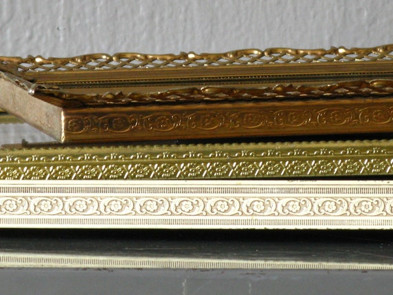 Metal Picture Frame Set Gold White Collection 1940 - 1950s