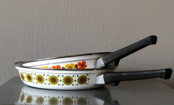Retro Enamelware Frying Pans by Austria email Mid Century