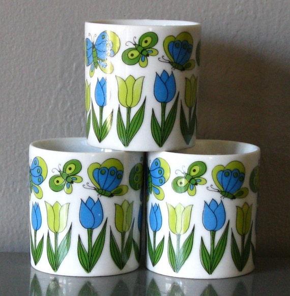 Vintage Takahashi Japan Mid Century Tulip Butterfly Coffee Mugs