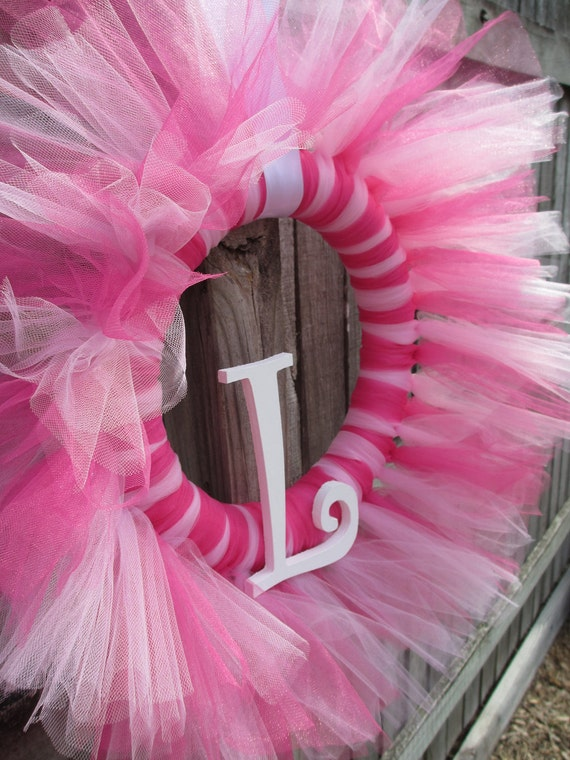 Tulle Tutu Ballerina Princess Wreath with Wooden Letter for Birthday or Baby Shower