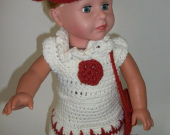 AG Crocheted White and Rust Color Skirt Top Hat and Purse for American Girl Dolls (CDC01)