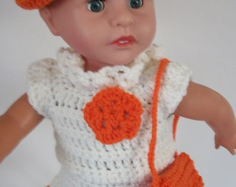 "AG Crocheted Outfit White and Orange Skirt with Top Purse and Hat for American Girl and other 18"" Dolls (CDC02)"
