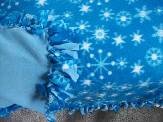 Blue Fleece Tie Blanket with White Snowflakes Reversible Light Blue