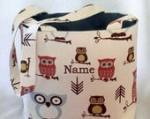 Tote Bag Fabric Handmade Tote Custom Embroidered with Monogram Owl Print