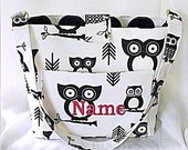 Purse, Tote Bag Fabric Handmade Tote Custom Embroidered with Monogram Owl Print