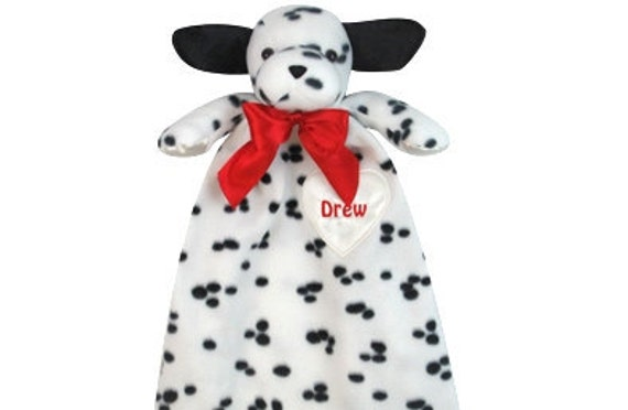 Baby Blanket Custom Embroidered Monogramed Soft Plush Adorable Dalmation Puppy