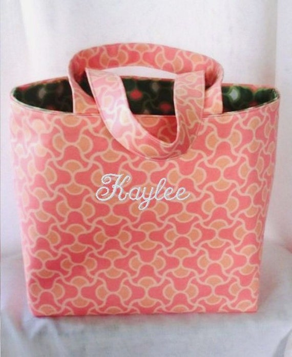 Tote Bag Fabric Handmade Tote Custom Embroidered with Monogram
