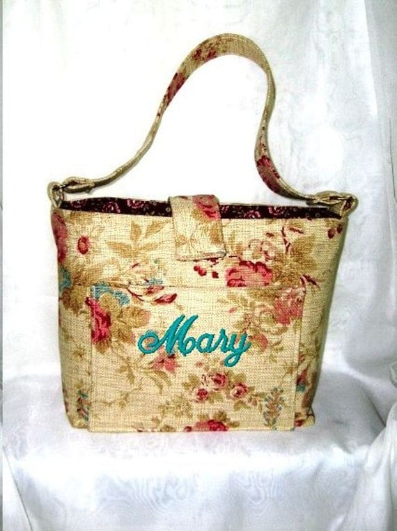 Purse, Tote Bag Fabric Handmade Tote Custom Embroidered with Monogram Floral Print
