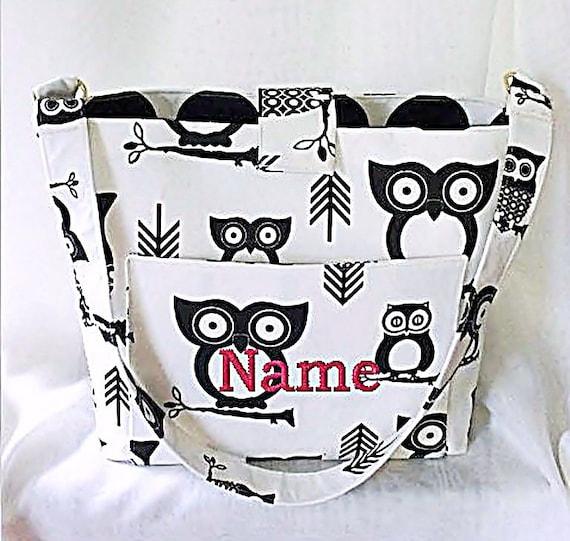 Purse, Tote Bag Fabric Handmade Tote Custom Embroidered with Monogram Owl Print