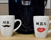 Mr. and Mrs. Moustache and Lipstick coffee mugs