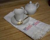 Tea Towel Set, 100% cotton, lace trimed embroidered.