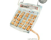 The family's calculator (calculatrice). Limited edition print by Julie Lequin