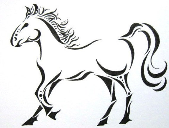 Magical Running Horse original ink drawing 4.5x6.5