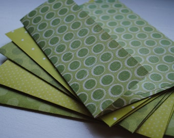 Shades of Green with Polka Dots Set of Five Handmade Envelopes by Paper Hearts Station on Etsy