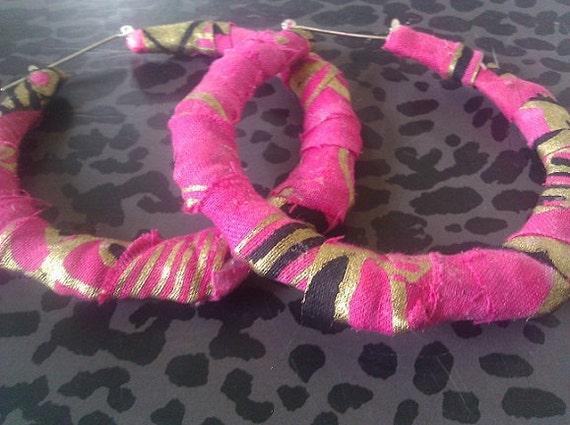 Pink African Print Fabric Bamboo Earrings