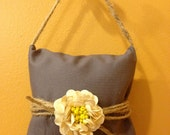 Lavender Aromatherapy Sachet, Coal Grey with Ivory Sequin Flower and Jute Handle