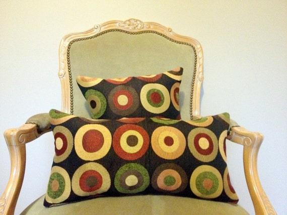 Decorative Pillow Set- Multi-color Circles on Black