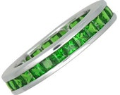 4 x Tsavorite Green Garnet Eternity Band Ring 14K White Gold (5ct tw) : sku 901-14K-WG