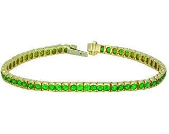 Tsavorite Green Garnet Bezel Set Tennis Bracelet 14K Yellow Gold 7 inches (8ct tw) : sku 569-14K-YG