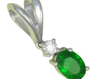 Tsavorite Green Garnet & Diamond Pendant 14K White Gold (0.85ct tw) : sku 517-14K-WG