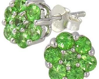 Tsavorite Green Garnet Cluster Earrings 925 Sterling Silver (2ct tw) : sku 1535-925