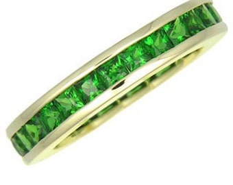 Tsavorite Green Garnet Eternity Band Ring 14K Yellow, White or Pink/ Rose Gold (3ct tw) : sku 901-14K