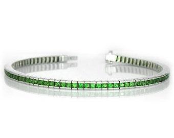 Tsavorite Green Garnet Tennis Bracelet 925 Sterling Silver 7 inches (8ct tw) : sku 397-925