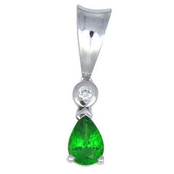 Tsavorite Green Garnet & Diamond Pendant 14K White Gold (0.85ct tw) : sku 519-14K-WG
