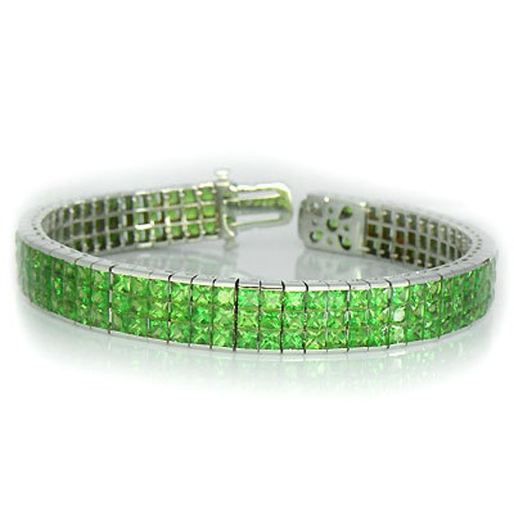 Designer Tsavorite Tennis Bracelet (30ct tw) : sku 916-18K-WG