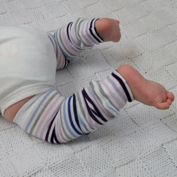 Blue and Purple Striped Baby Leg Warmers - Baby Legs
