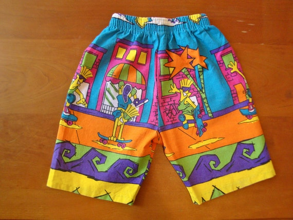 Vintage Neon Skateboarder Shorts (toddler)