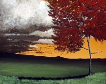 Lonely Red Maple 24 x 24 Original acrylic landscape painting