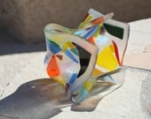 Abstract multicolor fused glass vase/bowl