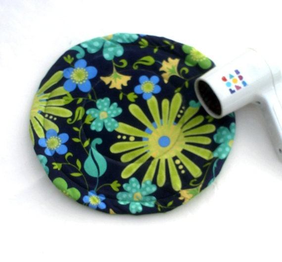 Cloth Placemat Teen Girls Decor, Hot Pads, Flat Iron Mat, Lime Green Flowers Hot Mats, Heat Resistant Hot Pads, Great for Teen Bedroom Decor