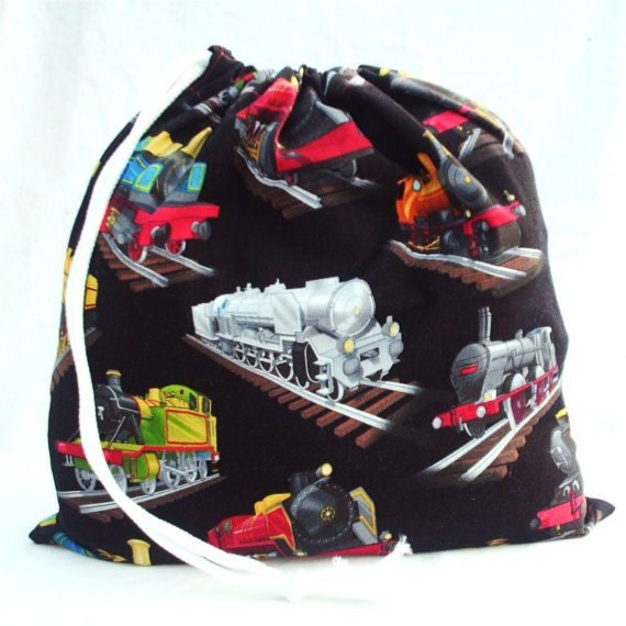 Kids Bag, Black with Trains, Fabric Drawstring Bag, Cute Gift or Kids Pajama Bag, Eco Friendly, Handmade Fabric Bags by Bees