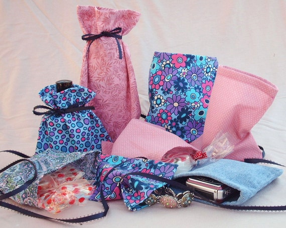 Set of Cloth Bags, Blue and Pink Fabric Gift Bags, Handmade
