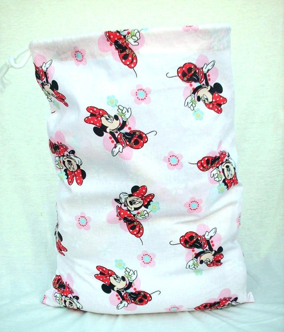 Minnie Mouse Kids Bag, Pink Fabric Drawstring or Gift Bag