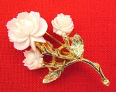 Vintage Celluloid Rose Figural Brooch