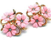 Vintage Trifari Pink Lucite Floral Clip on Earrings